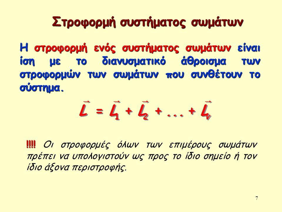 7 Στροφορμή συστήματος σωμάτων Η στροφορμή ενός συστήματος σωμάτων είναι ίση με το διανυσματικό άθροισμα των στροφορμών των σωμάτων που συνθέτουν το σύστημα.