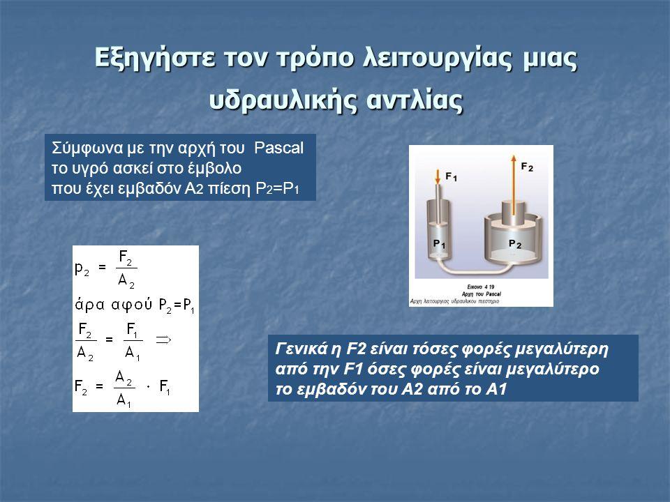 Υδραυλικό πιεστήριο (αρχή του Pascal)