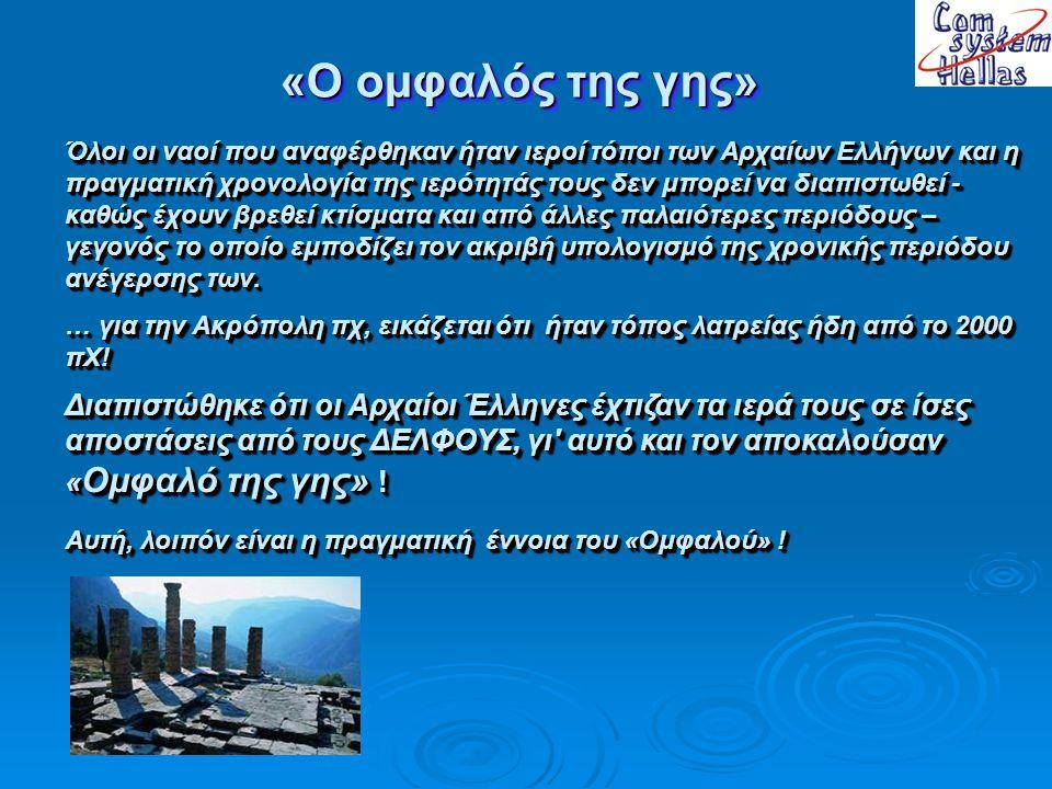 Οι ΔΕΛΦΟΙ … … εκτός από την Ολυμπία και την Ακρόπολη ισαπέχουν επίσης και … από τη Δωδώνη και το Δίον (κατά περίπου 195 χλμ).