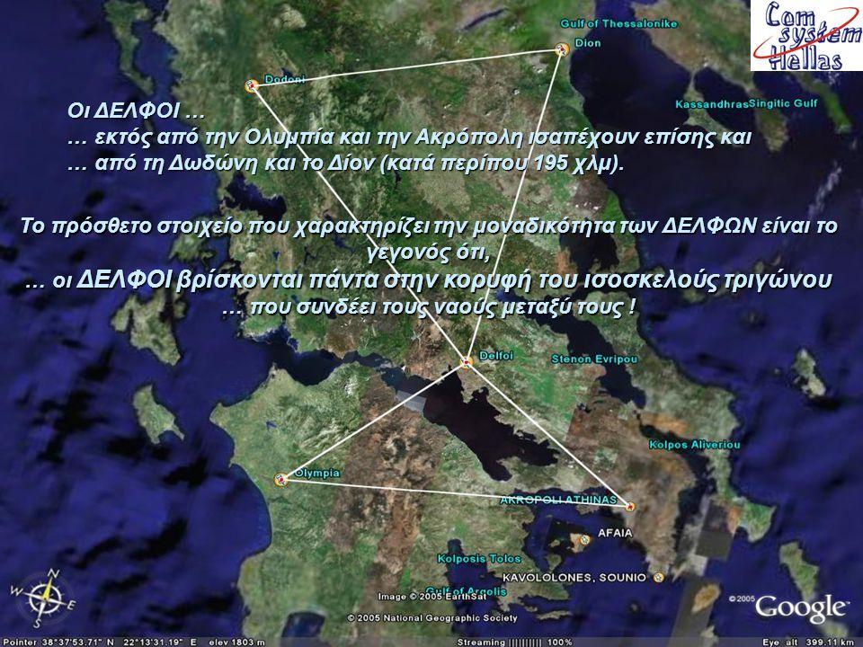 Ακρόπολη και Ολυμπία ισαπέχουν – κατά περίπου 121 χλμ, από τους ΔΕΛΦΟΥΣ .