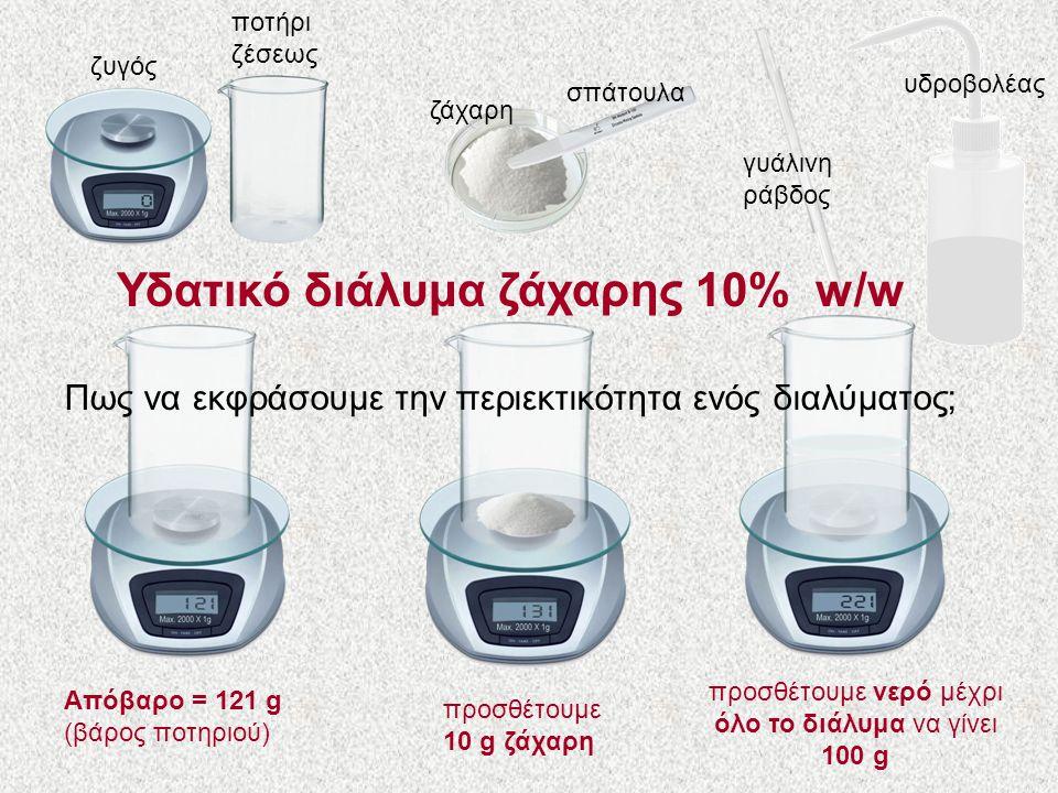 ζυγός ποτήρι ζέσεως ζάχαρη σπάτουλα γυάλινη ράβδος υδροβολέας Απόβαρο = 121 g (βάρος ποτηριού) προσθέτουμε 10 g ζάχαρη προσθέτουμε νερό μέχρι όλο το διάλυμα να γίνει 100 g Υδατικό διάλυμα ζάχαρης 10% w/w Πως να εκφράσουμε την περιεκτικότητα ενός διαλύματος;