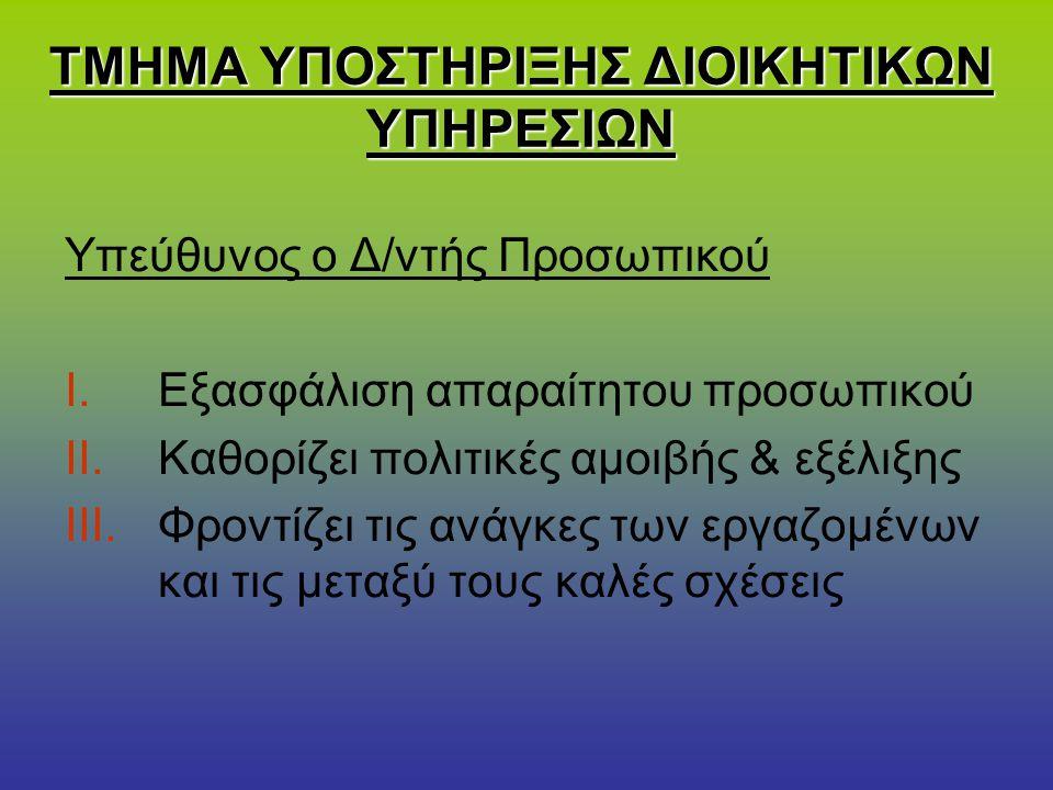 ΤΜΗΜΑ ΥΠΟΣΤΗΡΙΞΗΣ ΔΙΟΙΚΗΤΙΚΩΝ ΥΠΗΡΕΣΙΩΝ Υπεύθυνος ο Δ/ντής Προσωπικού I.Εξασφάλιση απαραίτητου προσωπικού II.Καθορίζει πολιτικές αμοιβής & εξέλιξης II