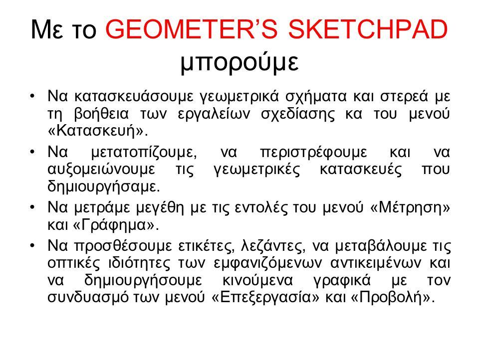 Με το GEOMETER'S SKETCHPAD μπορούμε Να κατασκευάσουμε γεωμετρικά σχήματα και στερεά με τη βοήθεια των εργαλείων σχεδίασης κα του μενού «Κατασκευή».