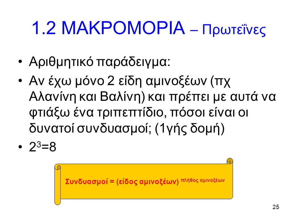 25 1.2 ΜΑΚΡΟΜΟΡΙΑ – Πρωτεΐνες Αριθμητικό παράδειγμα: Αν έχω μόνο 2 είδη αμινοξέων (πχ Αλανίνη και Βαλίνη) και πρέπει με αυτά να φτιάξω ένα τριπεπτίδιο
