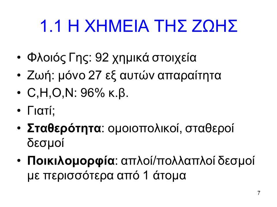 7 1.1 Η ΧΗΜΕΙΑ ΤΗΣ ΖΩΗΣ Φλοιός Γης: 92 χημικά στοιχεία Ζωή: μόνο 27 εξ αυτών απαραίτητα C,H,O,N: 96% κ.β. Γιατί; Σταθερότητα: ομοιοπολικοί, σταθεροί δ