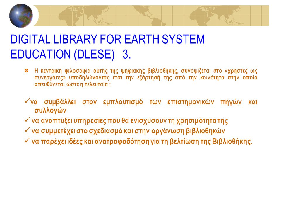 DIGITAL LIBRARY FOR EARTH SYSTEM EDUCATION (DLESE) 3.