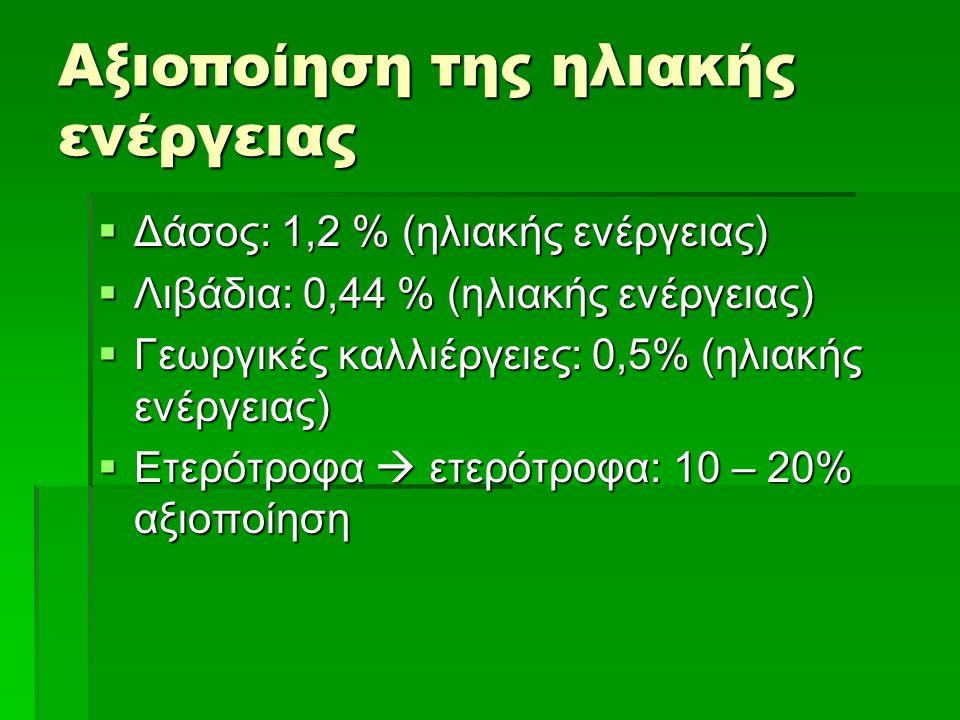 Αξιοποίηση της ηλιακής ενέργειας  Δάσος: 1,2 % (ηλιακής ενέργειας)  Λιβάδια: 0,44 % (ηλιακής ενέργειας)  Γεωργικές καλλιέργειες: 0,5% (ηλιακής ενέρ
