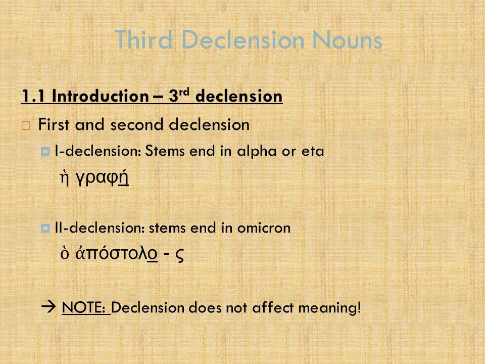 Third Declension Nouns  3 rd declension nouns  Nouns that end in a consonant – 3 rd declension pattern σαρκ + ων  σαρκ ῶ ν (pl.