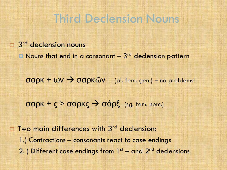 Third Declension Nouns CaseFeminine - 3Masculine -1Feminine -1 Nom.