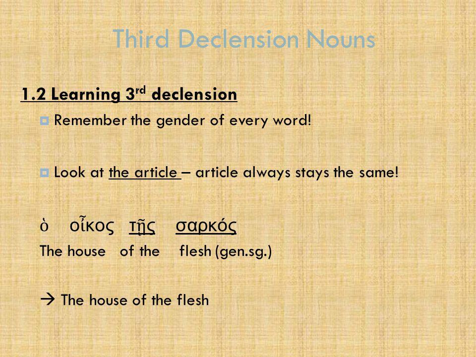 Third Declension Nouns τας σάρκας βλέπουσι ο ἱ ἀ πόστολοι the flesh (pl.acc.) they see the apostles  The apostles see the flesh