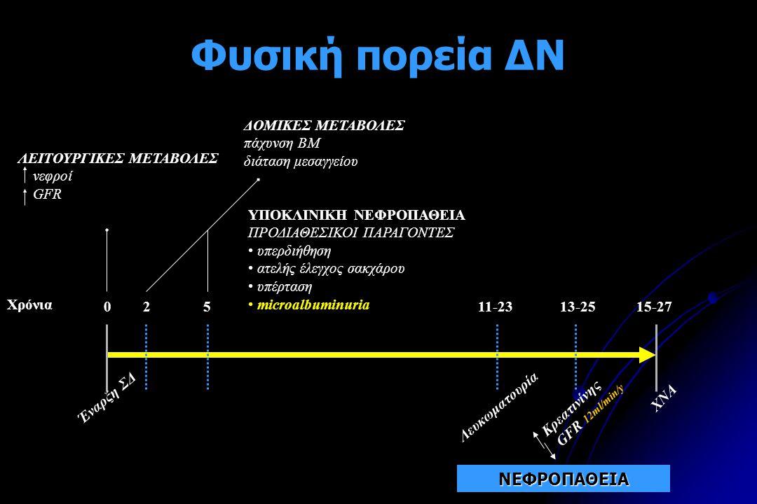 Φυσική πορεία ΔΝ Έναρξη ΣΔ 0 Χρόνια 2511-23 13-2515-27 ΔΟΜΙΚΕΣ ΜΕΤΑΒΟΛΕΣ πάχυνση ΒΜ διάταση μεσαγγείου Λευκωματουρία XNA ΛΕΙΤΟΥΡΓΙΚΕΣ ΜΕΤΑΒΟΛΕΣ νεφροί