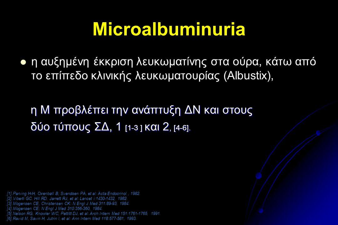 Microalbuminuria η αυξημένη έκκριση λευκωματίνης στα ούρα, κάτω από το επίπεδο κλινικής λευκωματουρίας (Albustix), [1].Parving H-H, Oxenbøll B, Svends