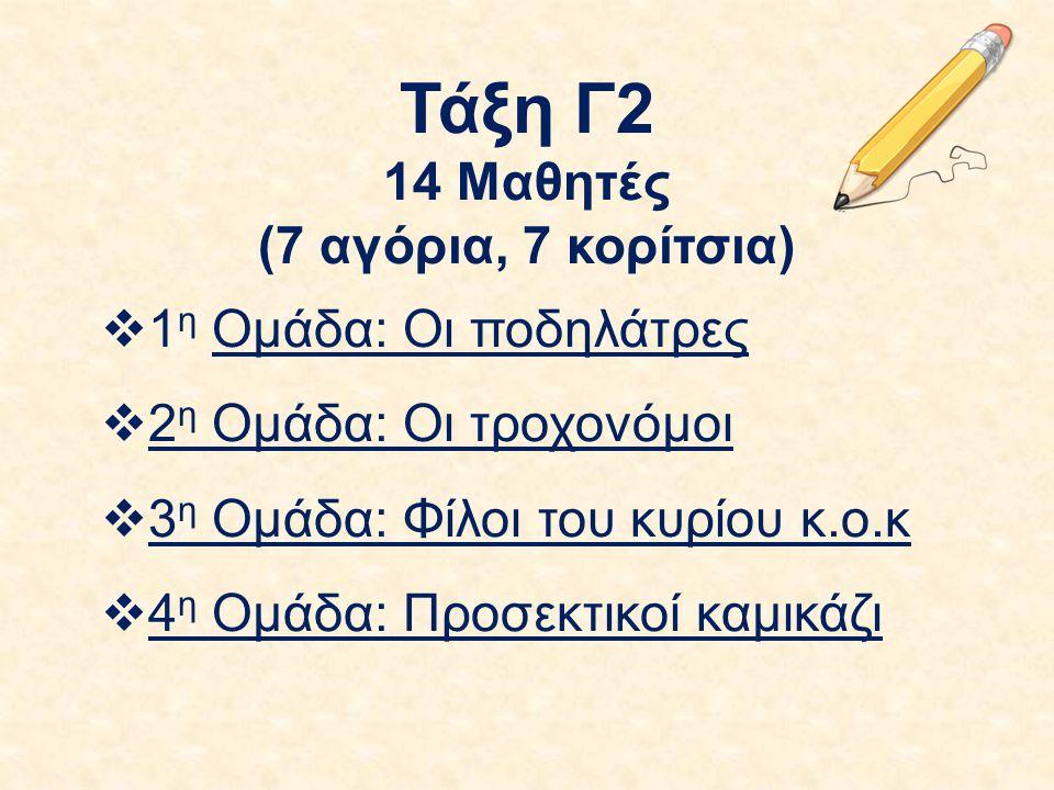 Τάξη Γ2 14 Μαθητές (7 αγόρια, 7 κορίτσια)  1 η Ομάδα: Οι ποδηλάτρες  2 η Ομάδα: Οι τροχονόμοι  3 η Ομάδα: Φίλοι του κυρίου κ.ο.κ  4 η Ομάδα: Προσε