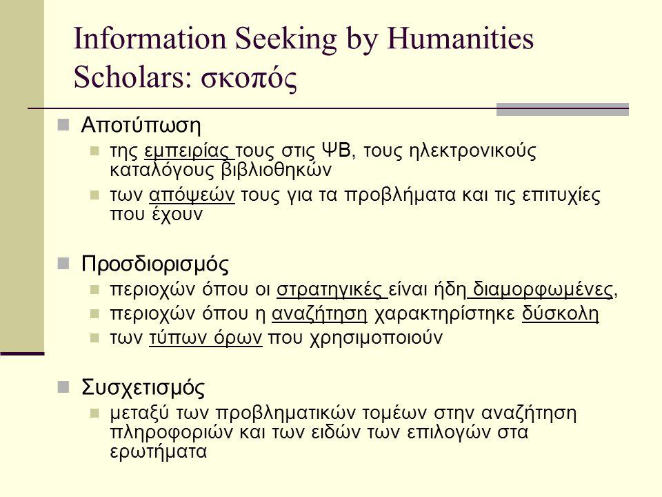 Information Seeking by Humanities Scholars: σκοπός Αποτύπωση της εμπειρίας τους στις ΨΒ, τους ηλεκτρονικούς καταλόγους βιβλιοθηκών των απόψεών τους για τα προβλήματα και τις επιτυχίες που έχουν Προσδιορισμός περιοχών όπου οι στρατηγικές είναι ήδη διαμορφωμένες, περιοχών όπου η αναζήτηση χαρακτηρίστηκε δύσκολη των τύπων όρων που χρησιμοποιούν Συσχετισμός μεταξύ των προβληματικών τομέων στην αναζήτηση πληροφοριών και των ειδών των επιλογών στα ερωτήματα