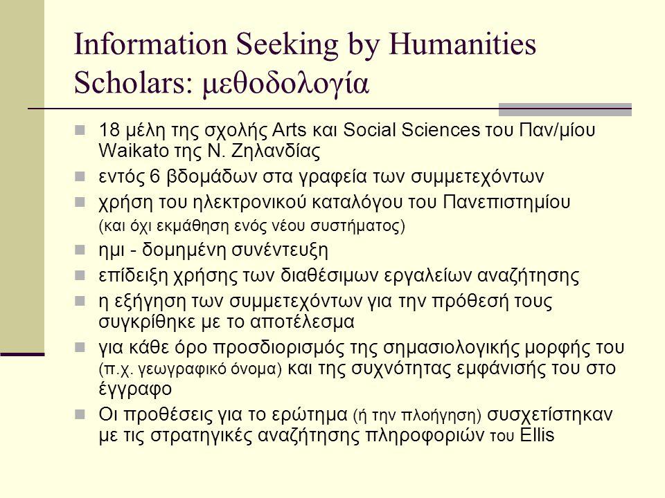 Information Seeking by Humanities Scholars: μεθοδολογία 18 μέλη της σχολής Arts και Social Sciences του Παν/μίου Waikato της Ν.