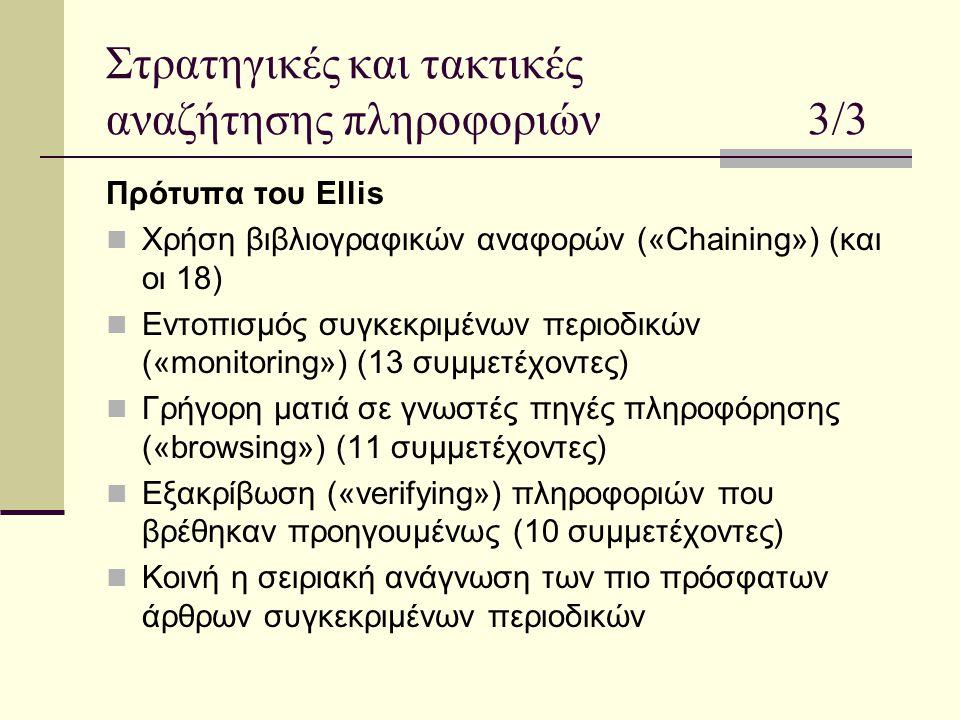 Στρατηγικές και τακτικές αναζήτησης πληροφοριών 3/3 Πρότυπα του Ellis Χρήση βιβλιογραφικών αναφορών («Chaining») (και οι 18) Εντοπισμός συγκεκριμένων περιοδικών («monitoring») (13 συμμετέχοντες) Γρήγορη ματιά σε γνωστές πηγές πληροφόρησης («browsing») (11 συμμετέχοντες) Εξακρίβωση («verifying») πληροφοριών που βρέθηκαν προηγουμένως (10 συμμετέχοντες) Κοινή η σειριακή ανάγνωση των πιο πρόσφατων άρθρων συγκεκριμένων περιοδικών