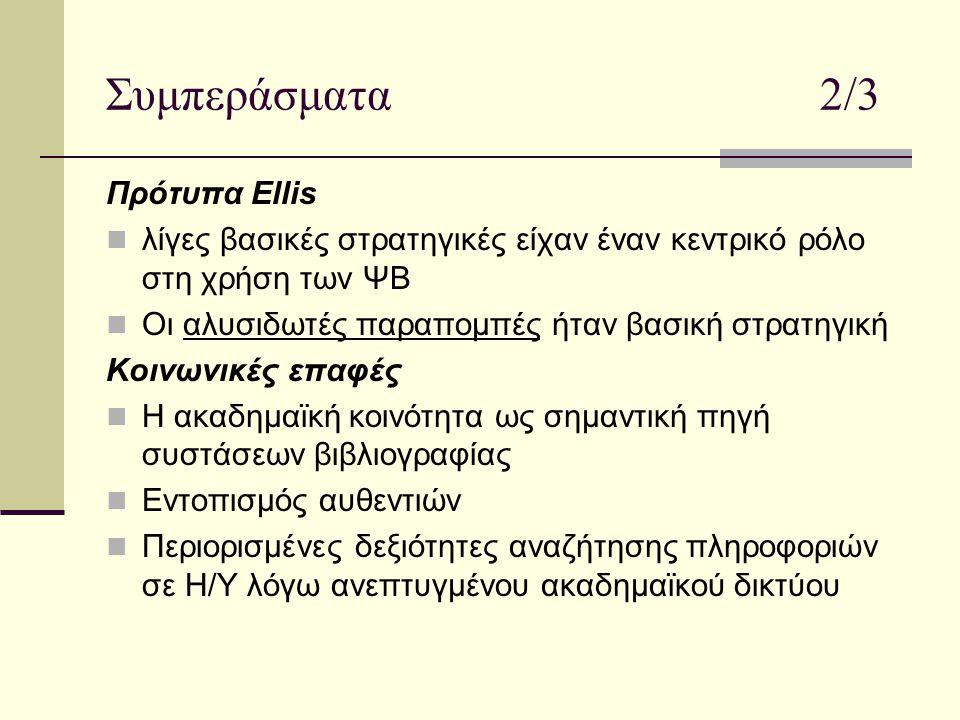 Συμπεράσματα 2/3 Πρότυπα Ellis λίγες βασικές στρατηγικές είχαν έναν κεντρικό ρόλο στη χρήση των ΨΒ Οι αλυσιδωτές παραπομπές ήταν βασική στρατηγική Κοινωνικές επαφές Η ακαδημαϊκή κοινότητα ως σημαντική πηγή συστάσεων βιβλιογραφίας Εντοπισμός αυθεντιών Περιορισμένες δεξιότητες αναζήτησης πληροφοριών σε Η/Υ λόγω ανεπτυγμένου ακαδημαϊκού δικτύου
