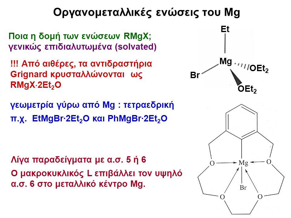 7 Ένα τέτοιο διάλυμα μπορεί να περιέχει τις χημικές οντότητες RMgX, MgR 2, MgX 2, RMg(μ-X) 2 MgR καθώς και πιο πολύπλοκες οντότητες λόγω επιδιαλύτωσης: Οργανομεταλλικές ενώσεις του Mg Πώς περιγράφεται συνοπτικά η κατάσταση σε διάλυμα ενός αντιδραστηρίου Grignard, RMgX; Ισορροπία Schlenk (1929) L = Μόριο διαλύτη με ιδιότητες δότη ζεύγους e (συνήθως αιθέρα) Κ = Σταθερά ισορροπίας