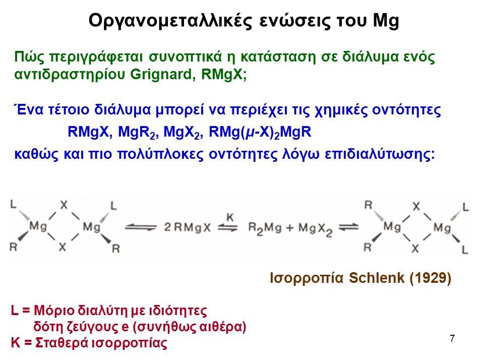8 Οργανομεταλλικές ενώσεις του Mg Πώς αποδεικνύεται η κινητική της ισορροπίας Schlenk και η εξάρτησής της από τη θερμοκρασία; (α) Ένα ισομοριακό μίγμα MgX 2 και MgR 2 σε Et 2 O συμπεριφέρεται χημικά όπως ακριβώς ένα συμβατικό αντιδραστήριο Grignard RMgX (Απόδειξη με προσθήκη 28 MgBr 2 σε MgR 2 : Το ραδιενεργό 28 Mg κατανέμεται ταχύτατα σε όλες τις οντότητες, MgX 2, RMgX και MgR 2 ) (β) Με φάσματα 25 Mg-NMR (THF, 37 o C)  Et 2 Mg (δ = 99,2 ppm), EtMgBr (δ = 56,2 ppm), MgBr 2 (δ = 13,9 ppm).