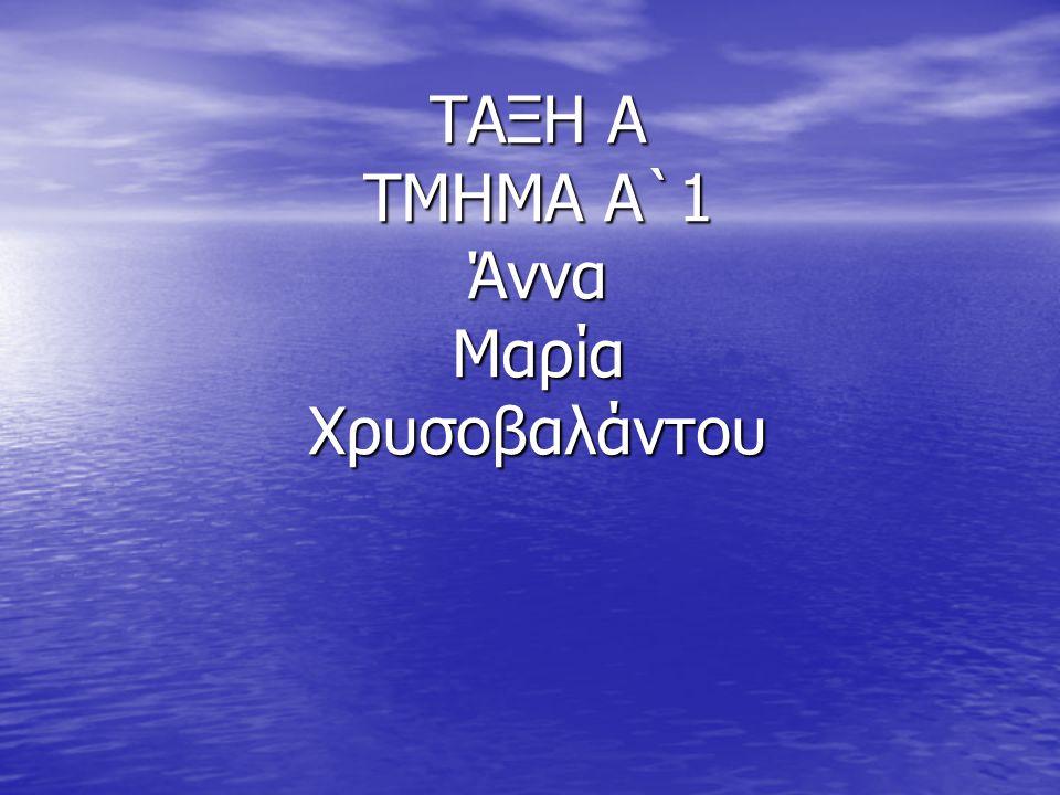 ΤΑΞΗ Α ΤΜΗΜΑ Α`1 Άννα Μαρία Χρυσοβαλάντου