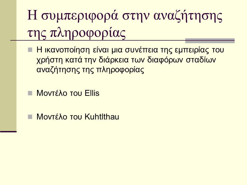 Η συμπεριφορά στην αναζήτησης της πληροφορίας Η ικανοποίηση είναι μια συνέπεια της εμπειρίας του χρήστη κατά την διάρκεια των διαφόρων σταδίων αναζήτησης της πληροφορίας Μοντέλο του Ellis Μοντέλο του Kuhtlthau