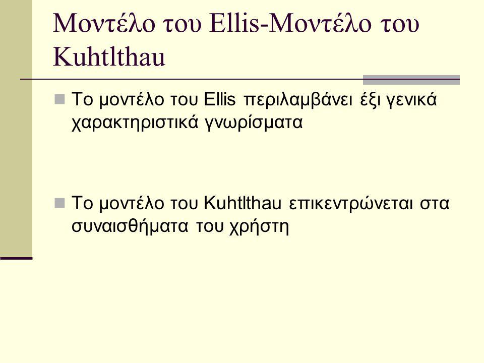 Μοντέλο του Ellis-Μοντέλο του Kuhtlthau Το μοντέλο του Ellis περιλαμβάνει έξι γενικά χαρακτηριστικά γνωρίσματα Το μοντέλο του Kuhtlthau επικεντρώνεται στα συναισθήματα του χρήστη