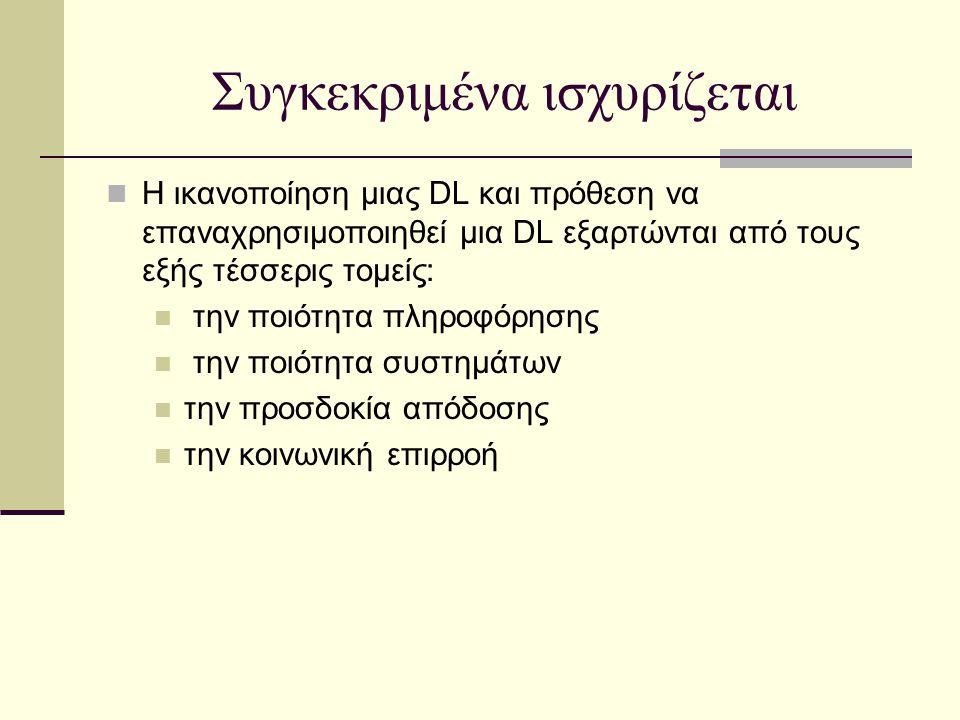 Συγκεκριμένα ισχυρίζεται Η ικανοποίηση μιας DL και πρόθεση να επαναχρησιμοποιηθεί μια DL εξαρτώνται από τους εξής τέσσερις τομείς: την ποιότητα πληροφ