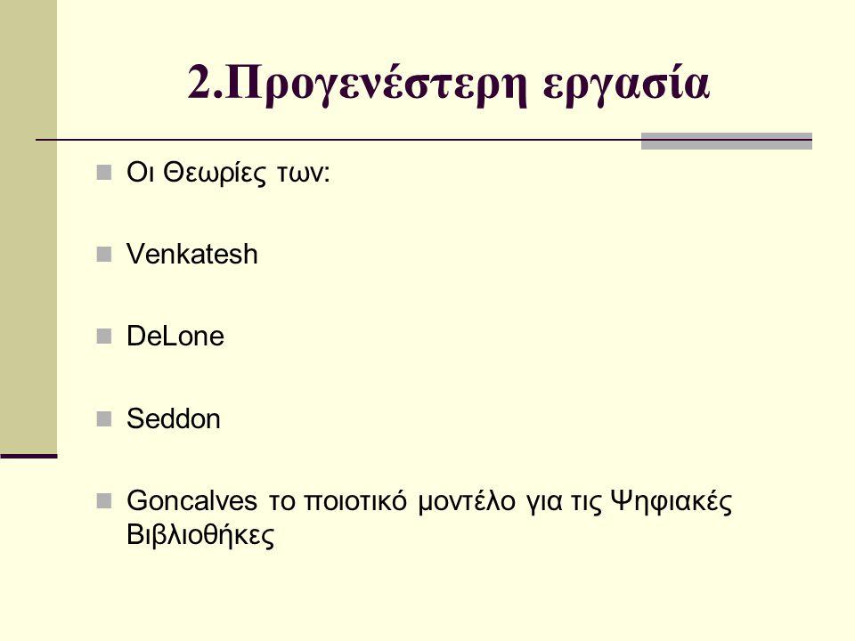 2.Προγενέστερη εργασία Οι Θεωρίες των: Venkatesh DeLone Seddon Goncalves το ποιοτικό μοντέλο για τις Ψηφιακές Βιβλιοθήκες