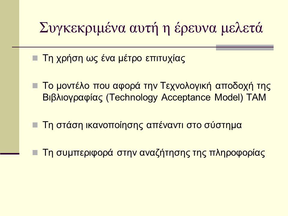 Συγκεκριμένα αυτή η έρευνα μελετά Τη χρήση ως ένα μέτρο επιτυχίας Το μοντέλο που αφορά την Τεχνολογική αποδοχή της Βιβλιογραφίας (Technology Acceptance Model) TAM Τη στάση ικανοποίησης απέναντι στο σύστημα Τη συμπεριφορά στην αναζήτησης της πληροφορίας