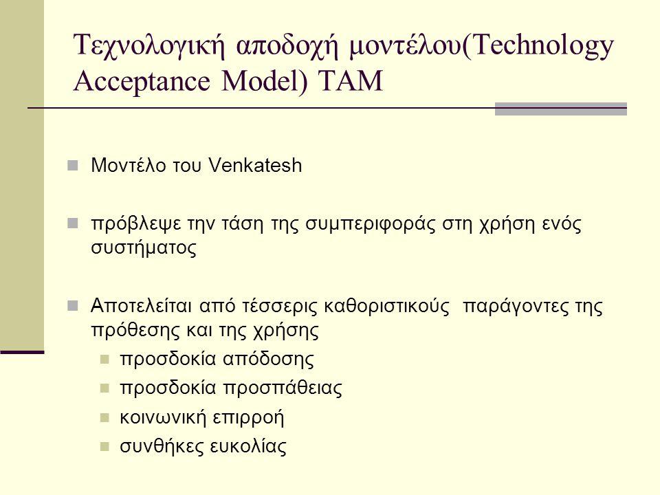Τεχνολογική αποδοχή μοντέλου(Technology Acceptance Model) TAM Μοντέλο του Venkatesh πρόβλεψε την τάση της συμπεριφοράς στη χρήση ενός συστήματος Αποτελείται από τέσσερις καθοριστικούς παράγοντες της πρόθεσης και της χρήσης προσδοκία απόδοσης προσδοκία προσπάθειας κοινωνική επιρροή συνθήκες ευκολίας