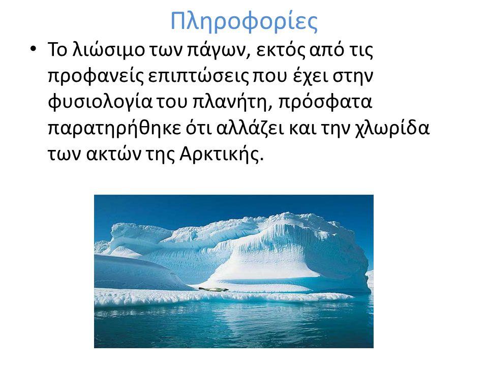 Πληροφορίες Το λιώσιμο των πάγων, εκτός από τις προφανείς επιπτώσεις που έχει στην φυσιολογία του πλανήτη, πρόσφατα παρατηρήθηκε ότι αλλάζει και την χ