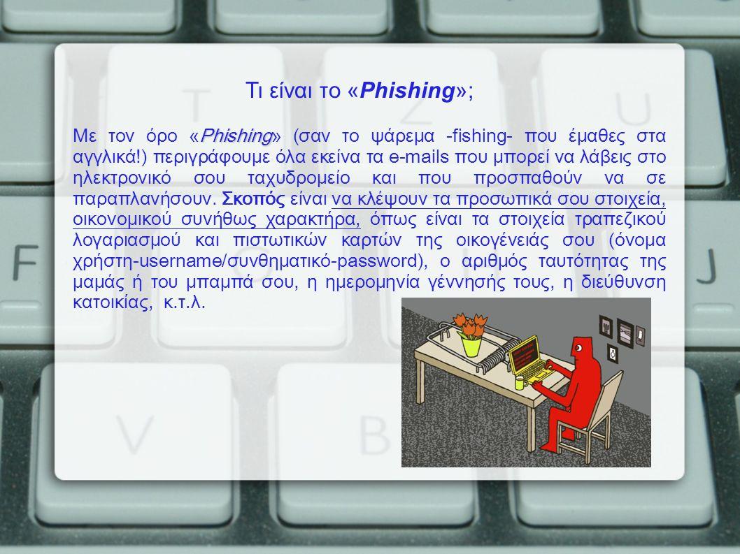 Phishing Με τον όρο «Phishing» (σαν το ψάρεμα -fishing- που έμαθες στα αγγλικά!) περιγράφουμε όλα εκείνα τα e-mails που μπορεί να λάβεις στο ηλεκτρονι