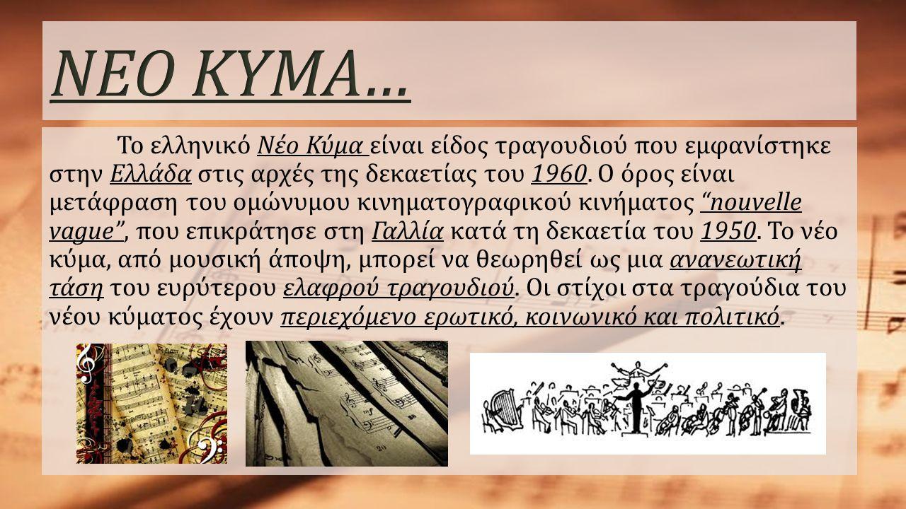 Το ελληνικό Νέο Κύμα είναι είδος τραγουδιού που εμφανίστηκε στην Ελλάδα στις αρχές της δεκαετίας του 1960. Ο όρος είναι μετάφραση του ομώνυμου κινηματ