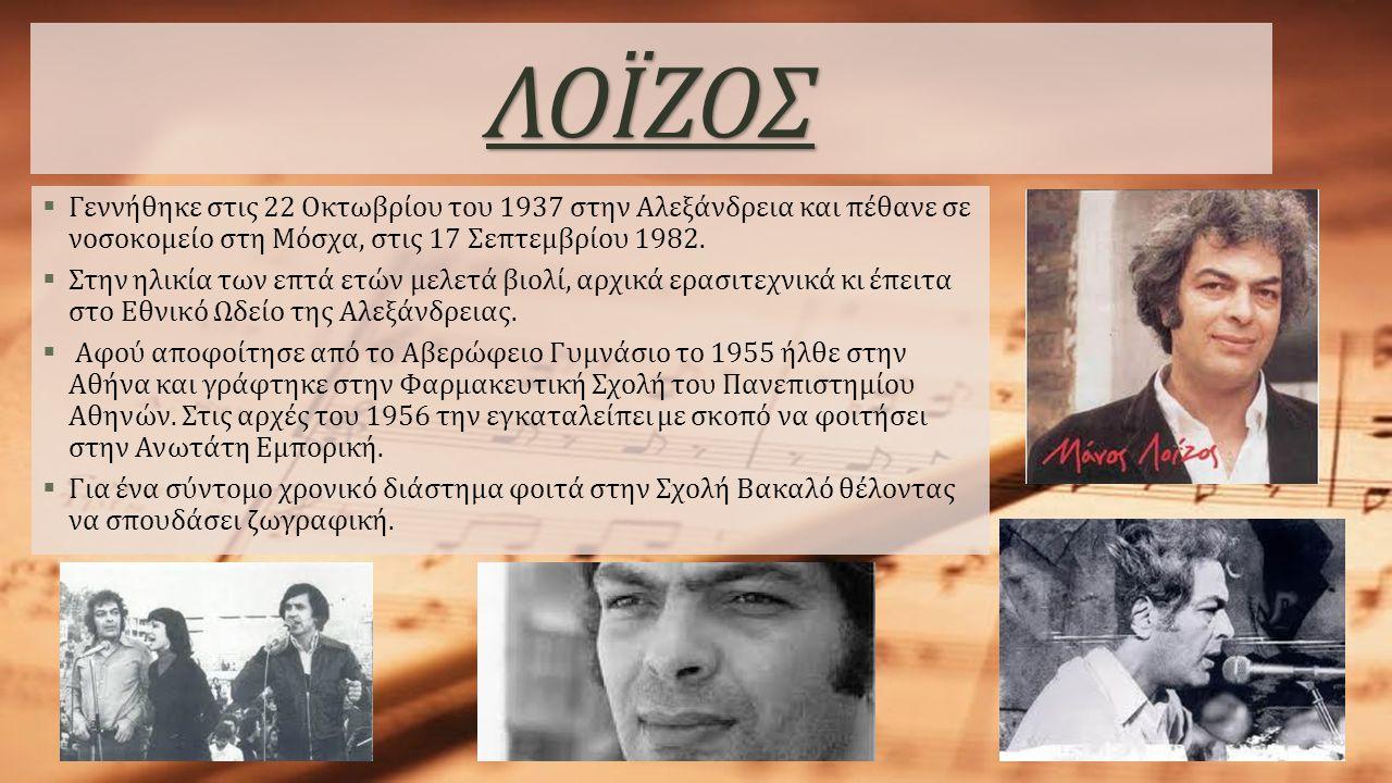 ΛΟΪΖΟΣ  Γεννήθηκε στις 22 Οκτωβρίου του 1937 στην Αλεξάνδρεια και πέθανε σε νοσοκομείο στη Μόσχα, στις 17 Σεπτεμβρίου 1982.  Στην ηλικία των επτά ετ