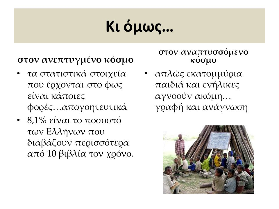 Ο Αναλφαβητισμός Σύμφωνα με την UNESCO ο αναλφαβητισμός ορίζεται ως η κατάσταση κατά την οποία το άτομο «δεν έχει αποκτήσει τις αναγκαίες γνώσεις και ικανότητες για την άσκηση όλων των δραστηριοτήτων για τις οποίες η γραφή, η ανάγνωση και η αρίθμηση είναι απαραίτητες».