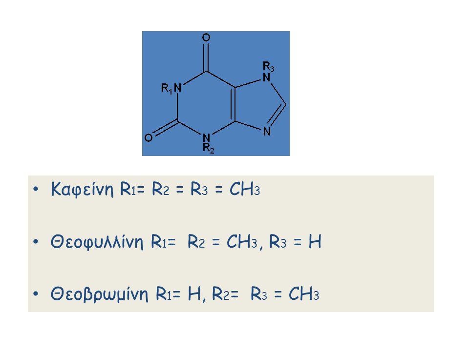 Καφείνη R 1 = R 2 = R 3 = CH 3 Θεοφυλλίνη R 1 = R 2 = CH 3, R 3 = Η Θεοβρωμίνη R 1 = Η, R 2 = R 3 = CH 3
