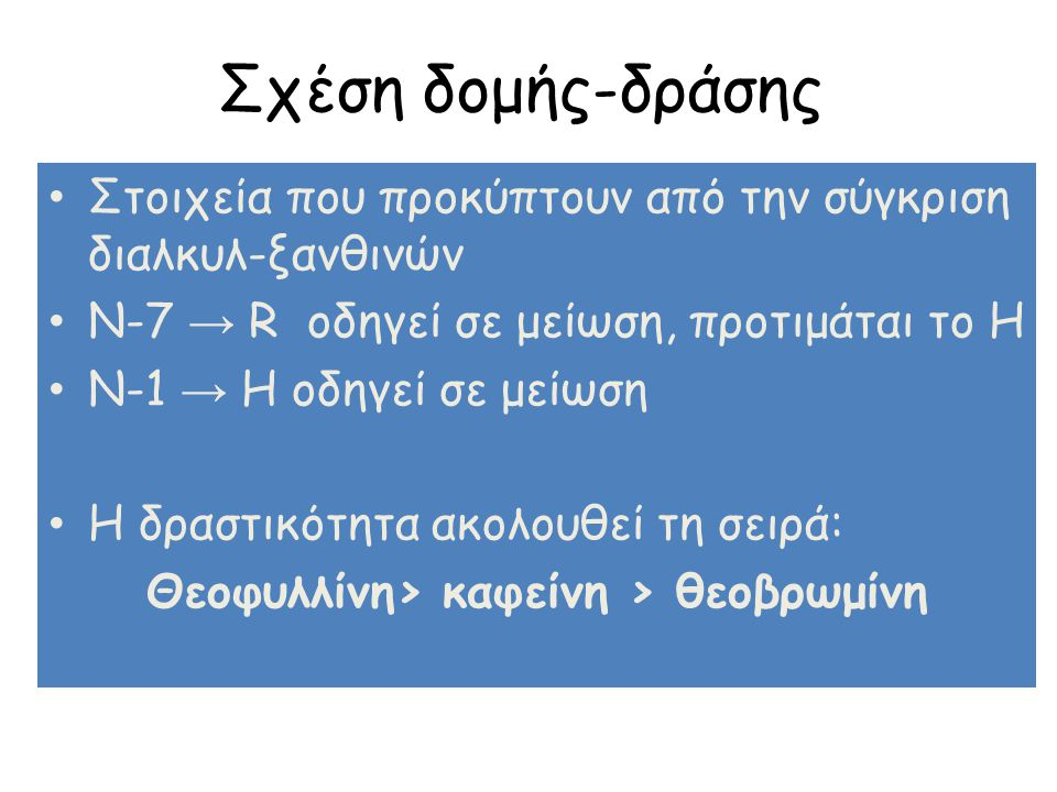 Σχέση δομής-δράσης Στοιχεία που προκύπτουν από την σύγκριση διαλκυλ-ξανθινών N-7 → R οδηγεί σε μείωση, προτιμάται το Η N-1 → H οδηγεί σε μείωση Η δραστικότητα ακολουθεί τη σειρά: Θεοφυλλίνη> καφείνη > θεοβρωμίνη