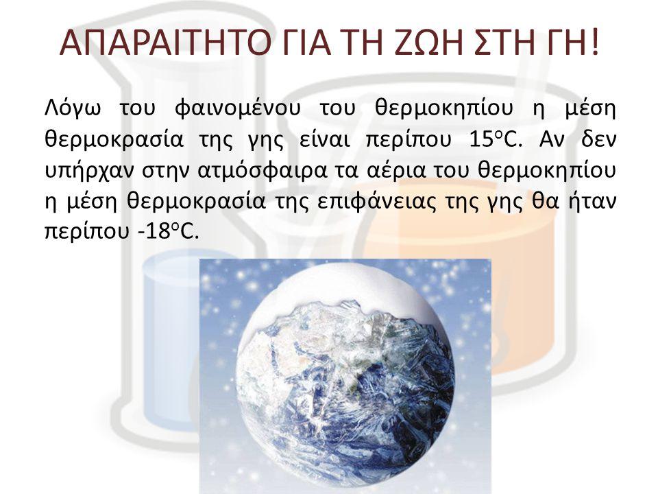 ΑΠΑΡΑΙΤΗΤΟ ΓΙΑ ΤΗ ΖΩΗ ΣΤΗ ΓΗ! Λόγω του φαινομένου του θερμοκηπίου η μέση θερμοκρασία της γης είναι περίπου 15 ο C. Αν δεν υπήρχαν στην ατμόσφαιρα τα α