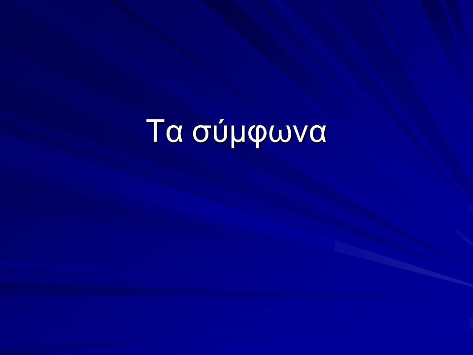 Σε ποιες κατηγορίες χωρίζονται τα σύμφωνα; Τα σύμφωνα χωρίζονται σε άφωνα, ημίφωνα, διπλά.