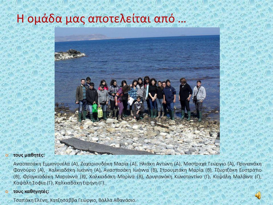 Η ομάδα μας αποτελείται από … τους μαθητές: Αναστασάκη Εμμανουέλα (Α), Ζαχαριουδάκη Μαρία (Α), Ηλιάκη Αντώνη (Α), Μαστραχά Γεώργιο (Α), Πρινιανάκη Φανούριο (Α), Χαλκιαδάκη Ιωάννη (Α), Αναστασάκη Ιωάννα (Β), Στρουμπάκη Μαρία (Β), Τζωρτζάκη Ευστράτιο (Β), Φραγκιαδάκη Μαριάννα (Β), Χαλκιαδάκη Μαρίνα (Β), Δρυγιανάκη Κωνσταντίνο (Γ), Καψάλη Μαλβίνα (Γ), Καψάλη Σοφία (Γ), Χαλκιαδάκη Ειρήνη (Γ).