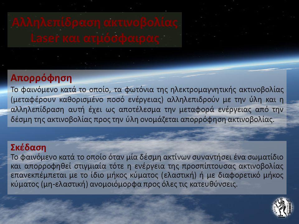 Αλληλεπίδραση ακτινοβολίας Laser και ατμόσφαιρας Απορρόφηση Το φαινόμενο κατά το οποίο, τα φωτόνια της ηλεκτρομαγνητικής ακτινοβολίας (μεταφέρουν καθορισμένο ποσό ενέργειας) αλληλεπιδρούν με την ύλη και η αλληλεπίδραση αυτή έχει ως αποτέλεσμα την μεταφορά ενέργειας από την δέσμη της ακτινοβολίας προς την ύλη ονομάζεται απορρόφηση ακτινοβολίας.