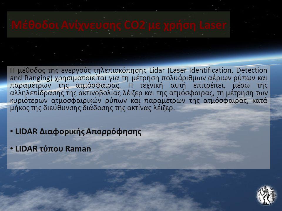 Μέθοδοι Ανίχνευσης CO2 με χρήση Laser Η μέθοδος της ενεργούς τηλεπισκόπησης Lidar (Laser Identification, Detection and Ranging) χρησιμοποιείται για τη μέτρηση πολυάριθμων αέριων ρύπων και παραμέτρων της ατμόσφαιρας.