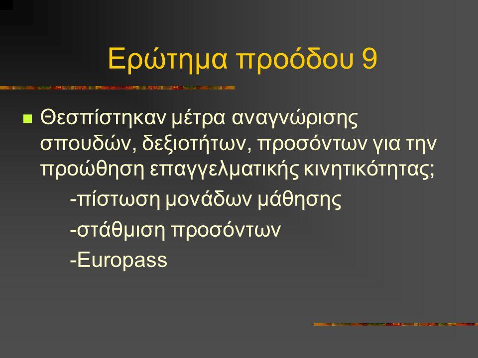 Ερώτημα προόδου 9 Θεσπίστηκαν μέτρα αναγνώρισης σπουδών, δεξιοτήτων, προσόντων για την προώθηση επαγγελματικής κινητικότητας; -πίστωση μονάδων μάθησης -στάθμιση προσόντων -Europass