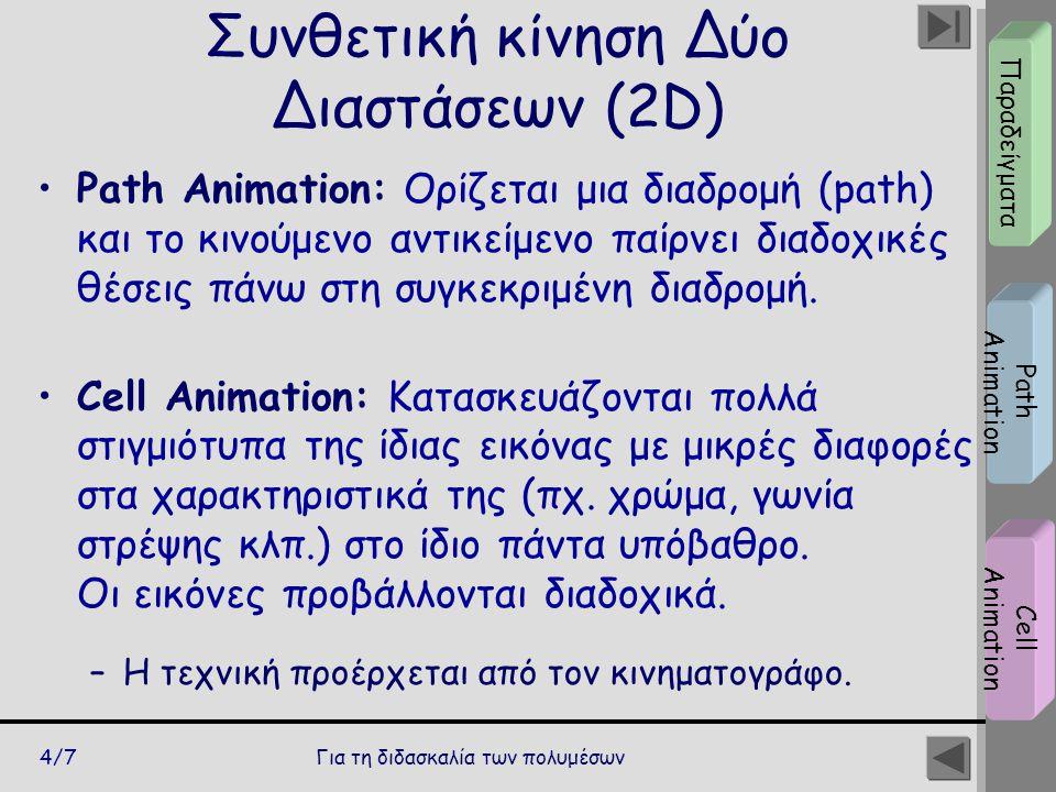 Για τη διδασκαλία των πολυμέσων4/7 Συνθετική κίνηση Δύο Διαστάσεων (2D) Path Animation: Ορίζεται μια διαδρομή (path) και το κινούμενο αντικείμενο παίρ