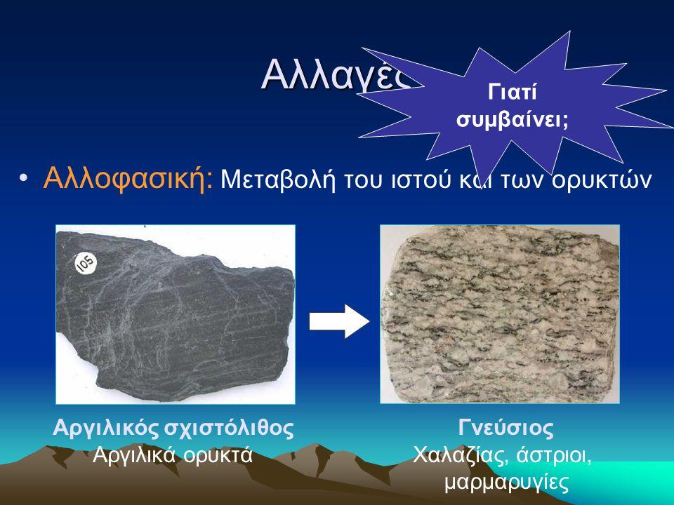 Αλλαγές Αλλοφασική: Μεταβολή του ιστού και των ορυκτών Αργιλικός σχιστόλιθος Αργιλικά ορυκτά Γνεύσιος Χαλαζίας, άστριοι, μαρμαρυγίες Γιατί συμβαίνει;