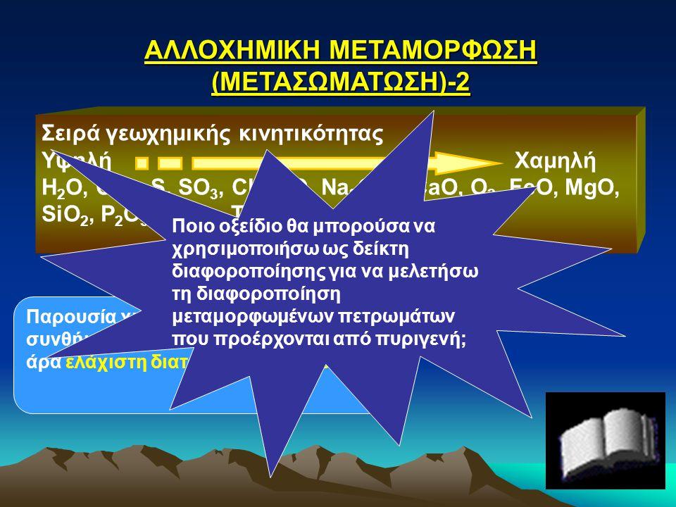 ΑΛΛΟΧΗΜΙΚΗ ΜΕΤΑΜΟΡΦΩΣΗ (ΜΕΤΑΣΩΜΑΤΩΣΗ)-2 Σειρά γεωχημικής κινητικότητας Υψηλή Χαμηλή H 2 O, CO 2, S, SO 3, Cl, K 2 O, Na 2 O, F, CaO, O 2, FeO, MgO, Si