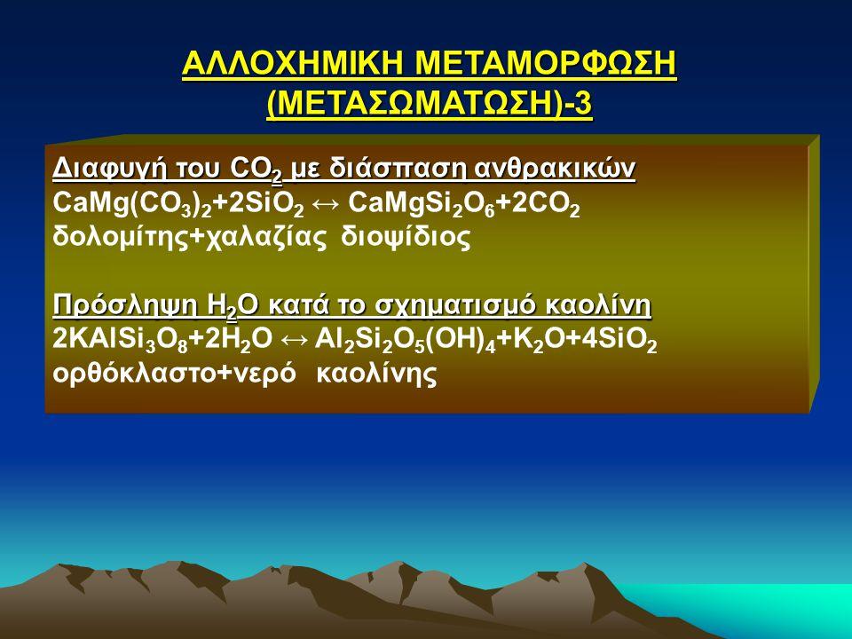 ΑΛΛΟΧΗΜΙΚΗ ΜΕΤΑΜΟΡΦΩΣΗ (ΜΕΤΑΣΩΜΑΤΩΣΗ)-3 Διαφυγή του CO 2 με διάσπαση ανθρακικών CaMg(CO 3 ) 2 +2SiO 2 ↔ CaMgSi 2 O 6 +2CO 2 δολομίτης+χαλαζίας διοψίδι