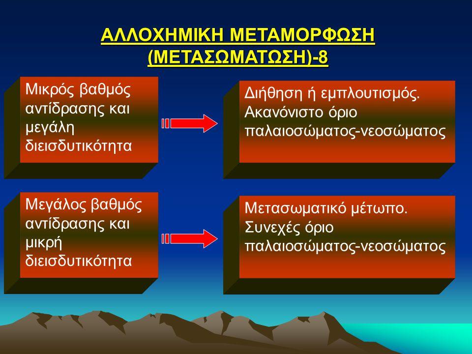 ΑΛΛΟΧΗΜΙΚΗ ΜΕΤΑΜΟΡΦΩΣΗ (ΜΕΤΑΣΩΜΑΤΩΣΗ)-8 Μικρός βαθμός αντίδρασης και μεγάλη διεισδυτικότητα Διήθηση ή εμπλουτισμός. Ακανόνιστο όριο παλαιοσώματος-νεοσ