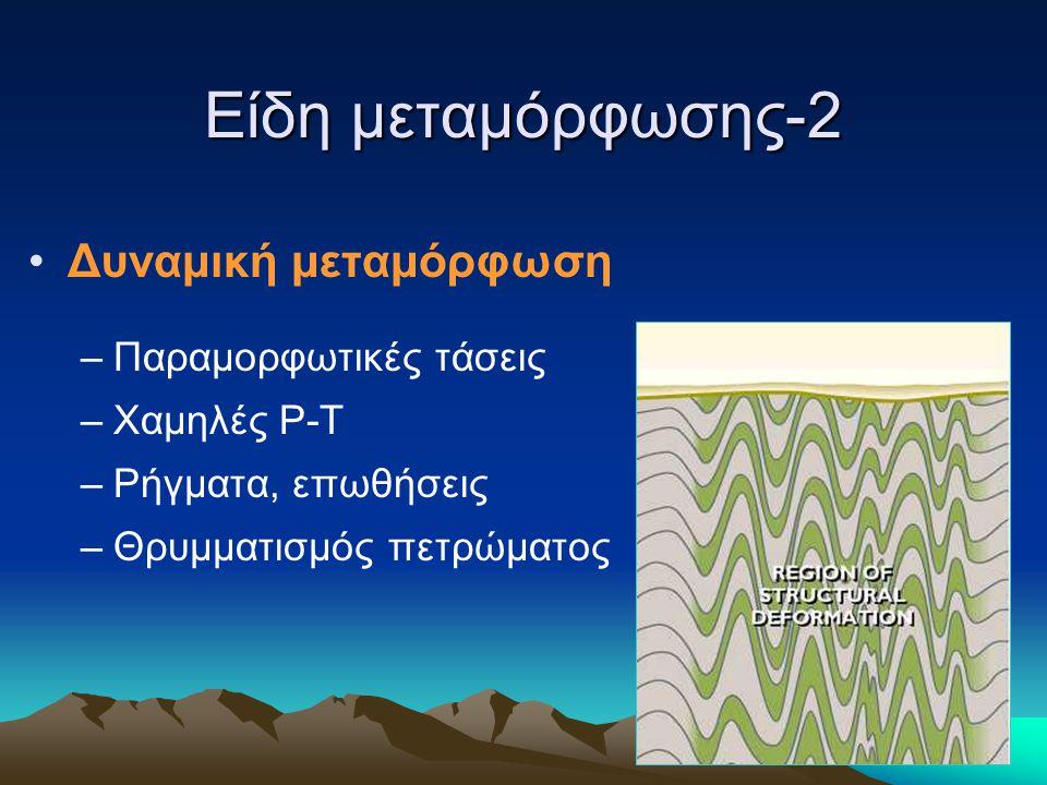 Είδη μεταμόρφωσης-2 Δυναμική μεταμόρφωση –Παραμορφωτικές τάσεις –Χαμηλές P-T –Ρήγματα, επωθήσεις –Θρυμματισμός πετρώματος