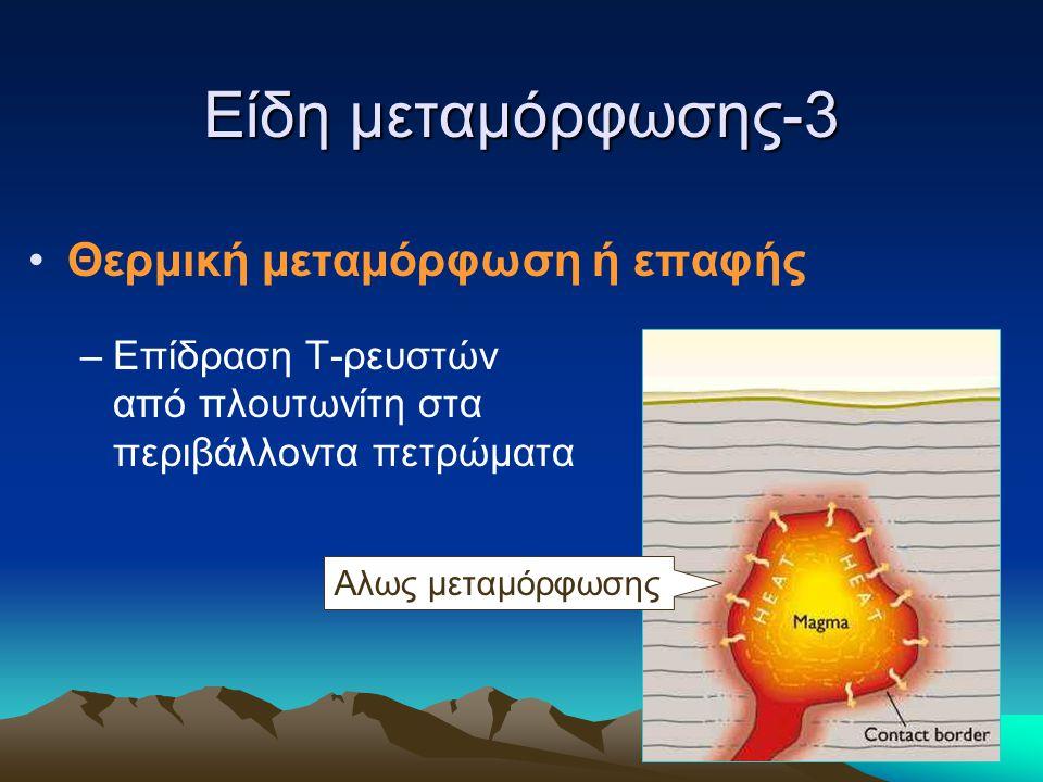 Είδη μεταμόρφωσης-3 Θερμική μεταμόρφωση ή επαφής –Επίδραση Τ-ρευστών από πλουτωνίτη στα περιβάλλοντα πετρώματα Αλως μεταμόρφωσης